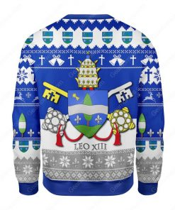 coat of arms of pope leo xiii all over printed ugly christmas sweater 5