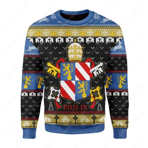 coat of arms of pope pius ix all over printed ugly christmas sweater 2