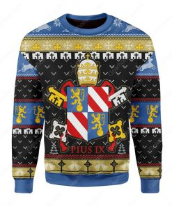 coat of arms of pope pius ix all over printed ugly christmas sweater 3
