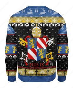 coat of arms of pope pius ix all over printed ugly christmas sweater 4