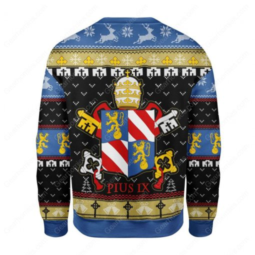 coat of arms of pope pius ix all over printed ugly christmas sweater 5