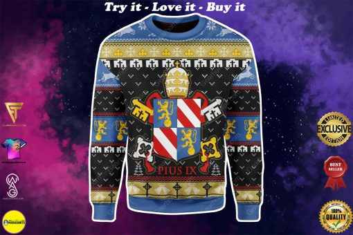 coat of arms of pope pius ix all over printed ugly christmas sweater