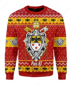 coat of arms of pope pius xi all over printed ugly christmas sweater 3