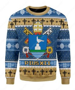 coat of arms of pope pius xii all over printed ugly christmas sweater 2