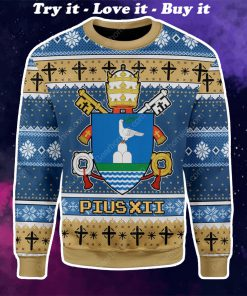 coat of arms of pope pius xii all over printed ugly christmas sweater
