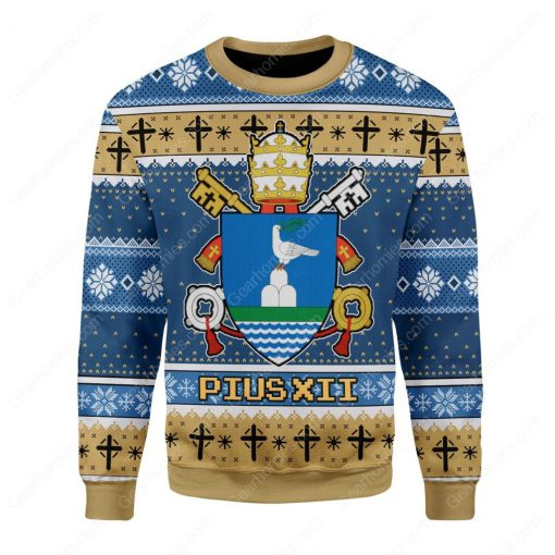 coat of arms of pope pius xii all over printed ugly christmas sweater 3