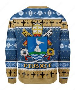 coat of arms of pope pius xii all over printed ugly christmas sweater 4