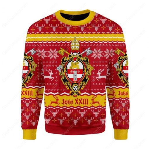coat of arms of st john xxiii all over printed ugly christmas sweater 3