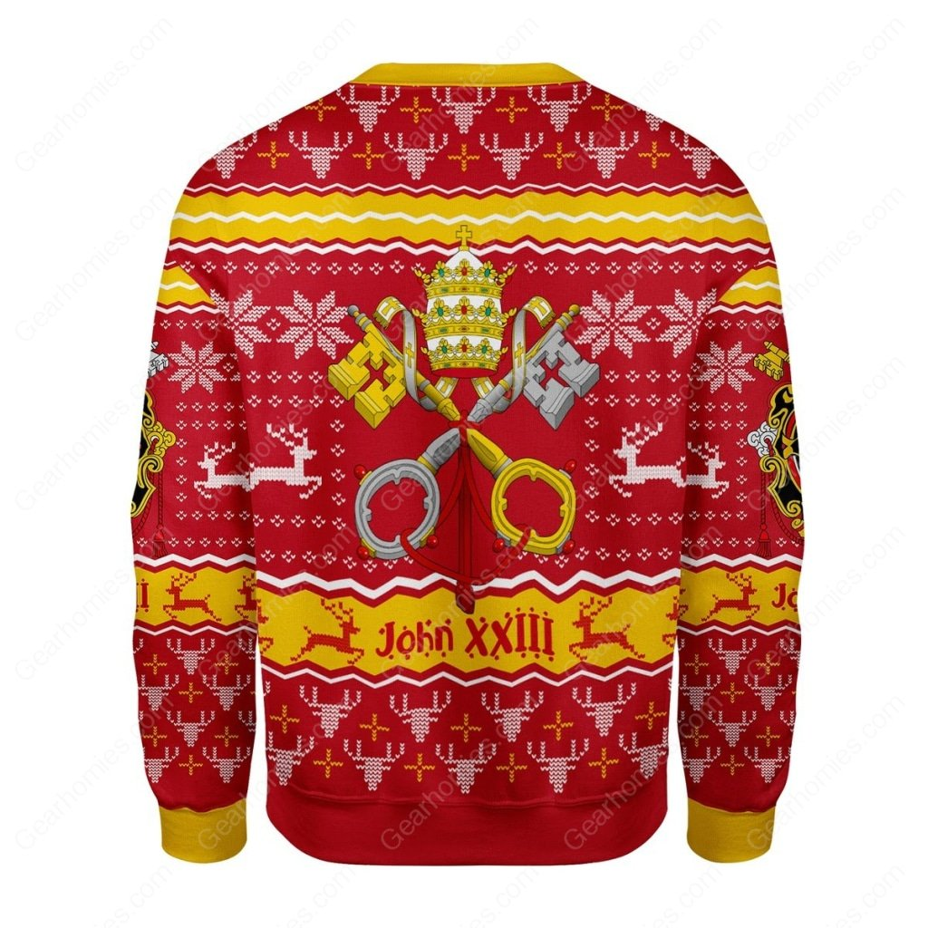 coat of arms of st john xxiii all over printed ugly christmas sweater 4