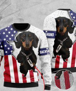custom name american flag dachshund pattern full printing ugly sweater 2 - Copy
