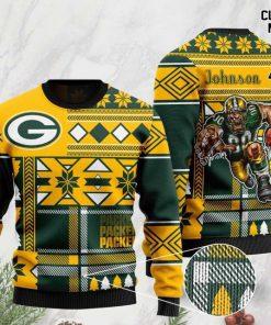 custom name green bay packers football team christmas ugly sweater 2