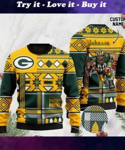 custom name green bay packers football team christmas ugly sweater
