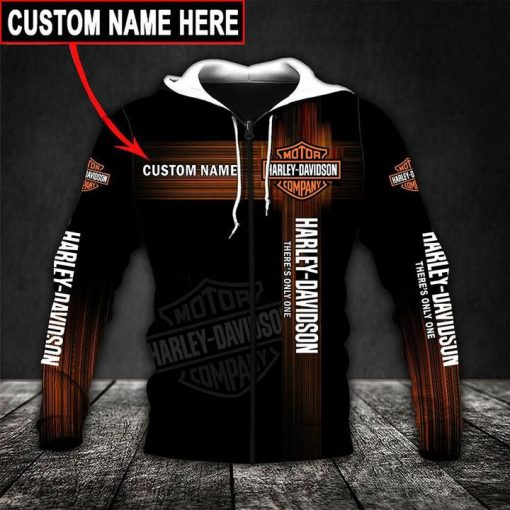 custom name harley-davidson motor company there's only one full printing hoodie