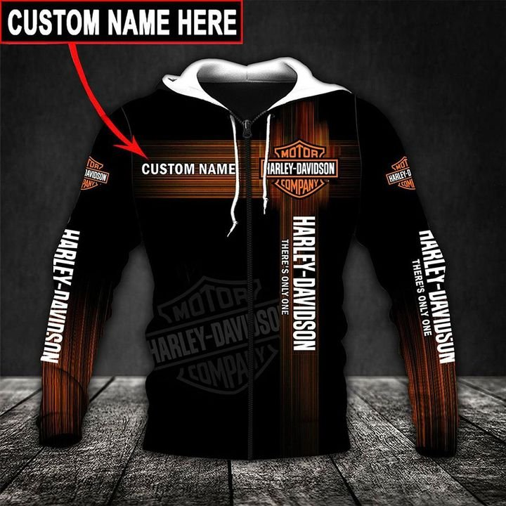 custom name harley-davidson motor company there's only one full printing shirt 2