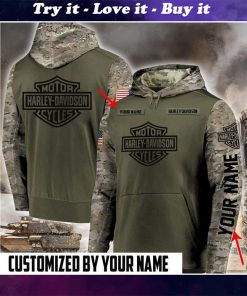 custom name harley-davidson motorcycles camo full printing shirt
