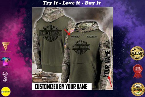 custom name harley-davidson motorcycles camo full printing shirt