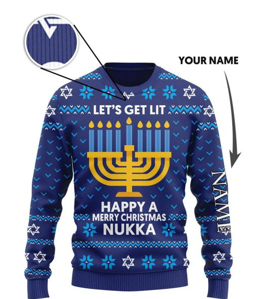 custom name lets get lit happy a merry christmas nukka ugly sweater 3