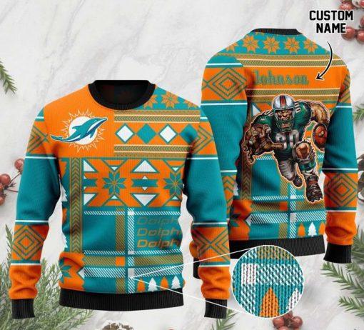 custom name miami dolphins football team christmas ugly sweater 2