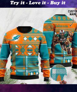 custom name miami dolphins football team christmas ugly sweater
