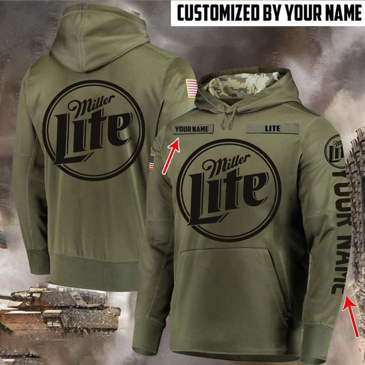 custom name miller lite beer full printing hoodie