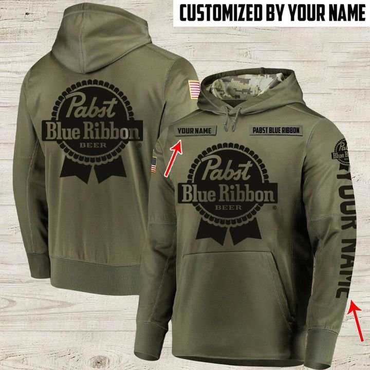 custom name pabst blue ribbon beer full printing hoodie 1
