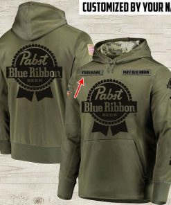 custom name pabst blue ribbon beer full printing hoodie