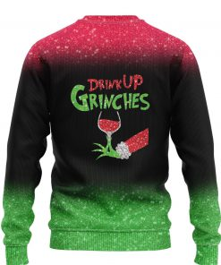 custom name the gricnh drink up green hand with glass of red wine ugly sweater 2 - Copy