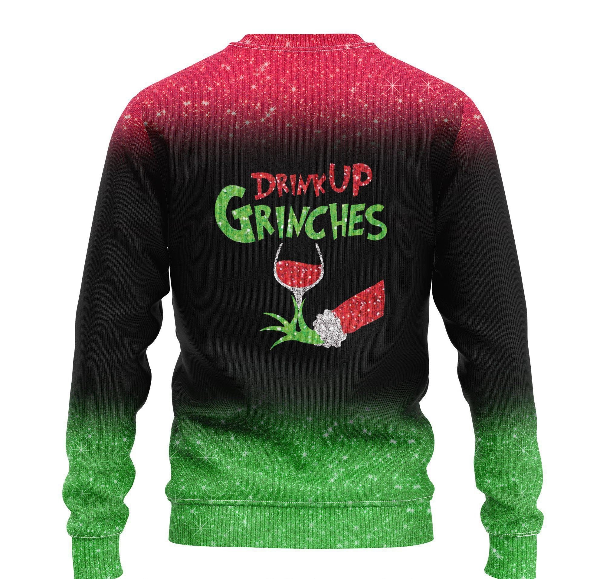 custom name the gricnh drink up green hand with glass of red wine ugly sweater 2