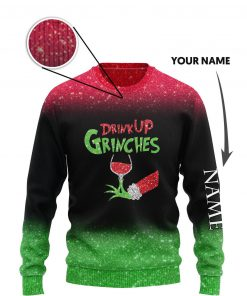 custom name the gricnh drink up green hand with glass of red wine ugly sweater 3