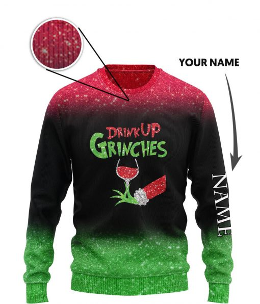 custom name the gricnh drink up green hand with glass of red wine ugly sweater 3 - Copy