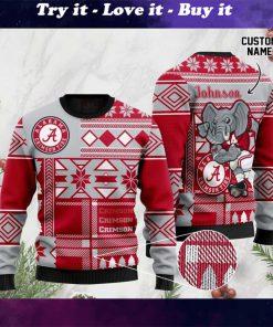 custome name alabama crimson tide football christmas ugly sweater