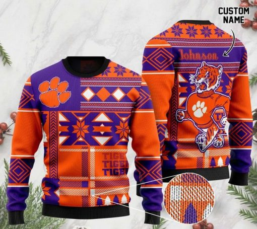 custome name clemson tigers football christmas ugly sweater 2 - Copy (2)
