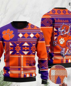 custome name clemson tigers football christmas ugly sweater 2 - Copy