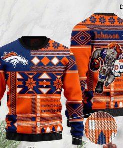 custome name denver broncos football team christmas ugly sweater 2