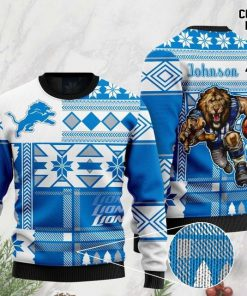 custome name detroit lions football team christmas ugly sweater 2