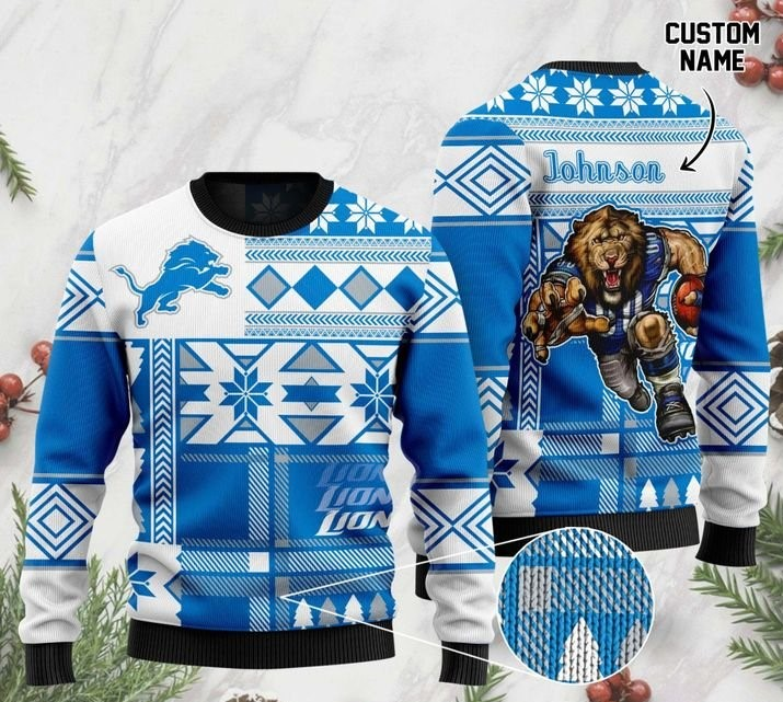 custome name detroit lions football team christmas ugly sweater 2 - Copy (2)
