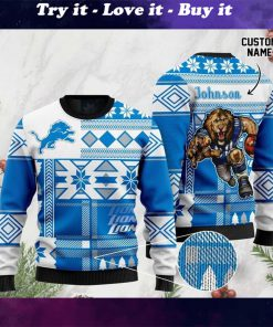 custome name detroit lions football team christmas ugly sweater
