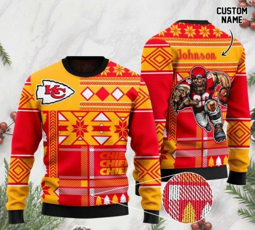 custome name kansas city chiefs football team christmas ugly sweater 2 - Copy