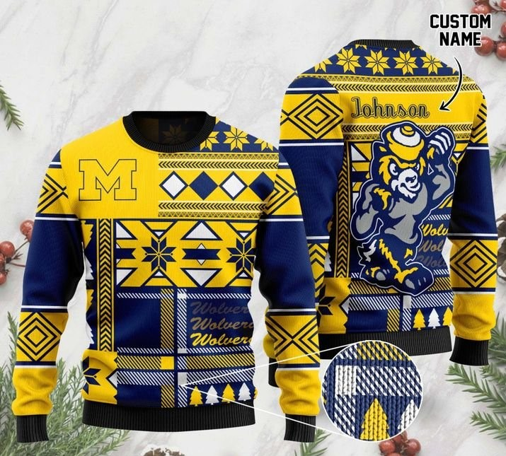 custome name michigan wolverines football christmas ugly sweater 2