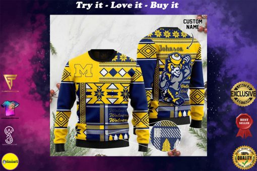 custome name michigan wolverines football christmas ugly sweater
