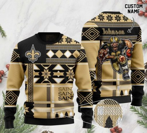 custome name new orleans saints football team christmas ugly sweater 2