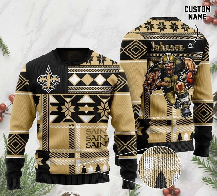 custome name new orleans saints football team christmas ugly sweater 2 - Copy (3)