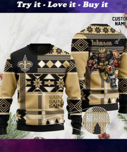 custome name new orleans saints football team christmas ugly sweater