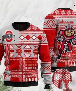 custome name ohio state buckeyes football team christmas ugly sweater 2