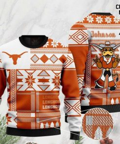 custome name texas longhorns football christmas ugly sweater 2