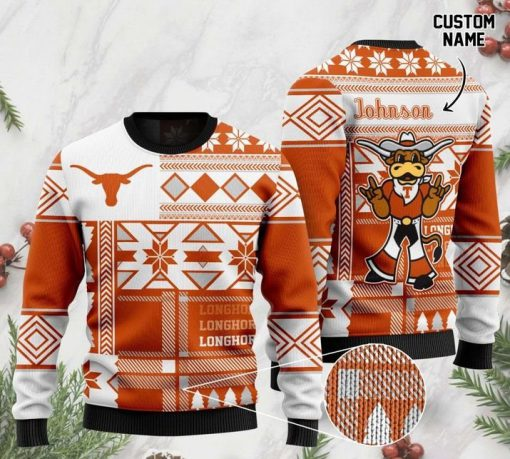 custome name texas longhorns football christmas ugly sweater 2 - Copy (3)