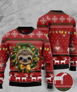 deer and sloth pattern full printing ugly christmas sweater 2