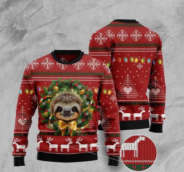 deer and sloth pattern full printing ugly christmas sweater 2 - Copy