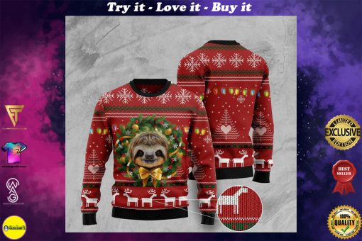 deer and sloth pattern full printing ugly christmas sweater