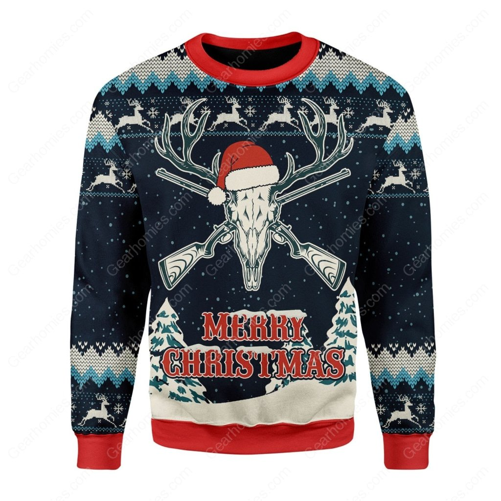 deer hunting merry christmas all over printed ugly christmas sweater 2